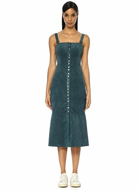 Finders Keepers Askılı Midi Kadife Elbise Lacivert